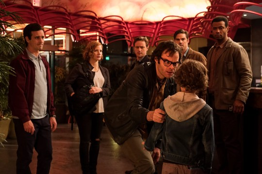 """Richie Tozier (Bill Hader, front) and the rest of the Losers Club (James Ransone, Jessica Chastain, James McAvoy, Jay Ryan and Isaiah Mustafa) face Pennywise as adults in """"It: Chapter Two."""""""