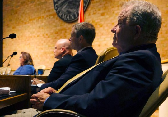 Right to left: Germantown aldermen Rocky Janda, Forest Owens, Dean Massey, and Mary Anne Gibson at a Germantown Board of Mayor and Aldermen meeting on August 12, 2019.