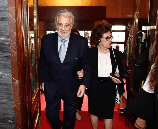 Spanish tenor Placido Domingo (L) and his wife Marta Ornelas in 2019.