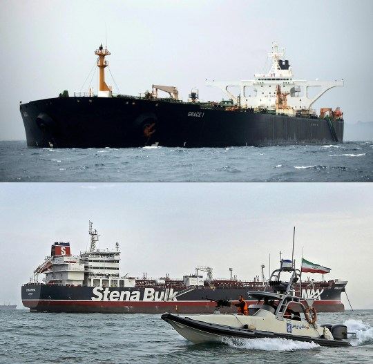 This combination of files pictures shows the supertanker Grace 1 (up) after being seized off the coast of Gibraltar on July 6, 2019, and the Iranian Revolutionary Guards patrolling around the impounded British-flagged tanker Stena Impero as it's anchored off the Iranian port city of Bandar Abbas (down) on July 21, 2019.