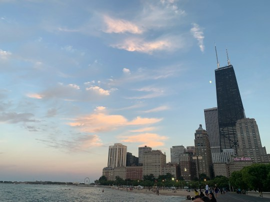 Sunset on Oak Street Beach in Chicago