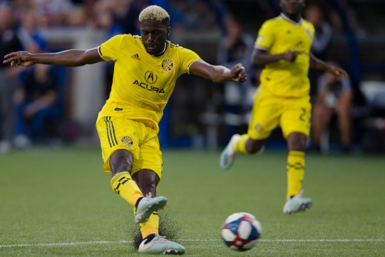 Columbus Crew SC forward Gyasi Zerdes (11) shoots on goal in the second half of the MLS match between FC Cincinnati and Columbus Crew SC on Sunday, Aug. 15, 2019, in Cincinnati.