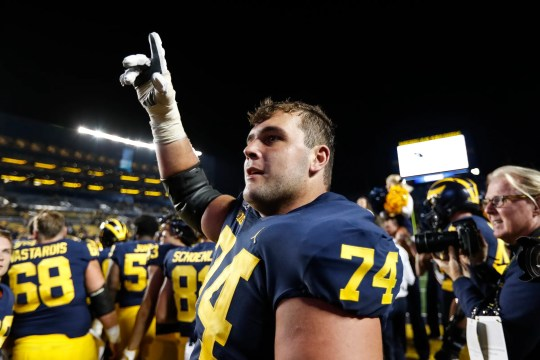 Ben Bredeson of Michigan celebrates the Wolverines 40-21 victory over Middle Tennessee State at Michigan Stadium in Ann Arbor, Saturday August 31, 2019.