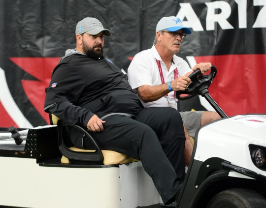 Detroit Lions head coach Matt Patricia leaves the field on a cart during the game against the Arizona Cardinals, Sunday, Sept. 8, 2019, in Glendale, Ariz.