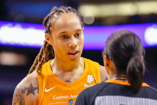 Phoenix Mercury center Brittney Griner talks with a referee after a no-call against the Las Vegas Aces on Sep. 8, 2019 in Phoenix, Ariz.