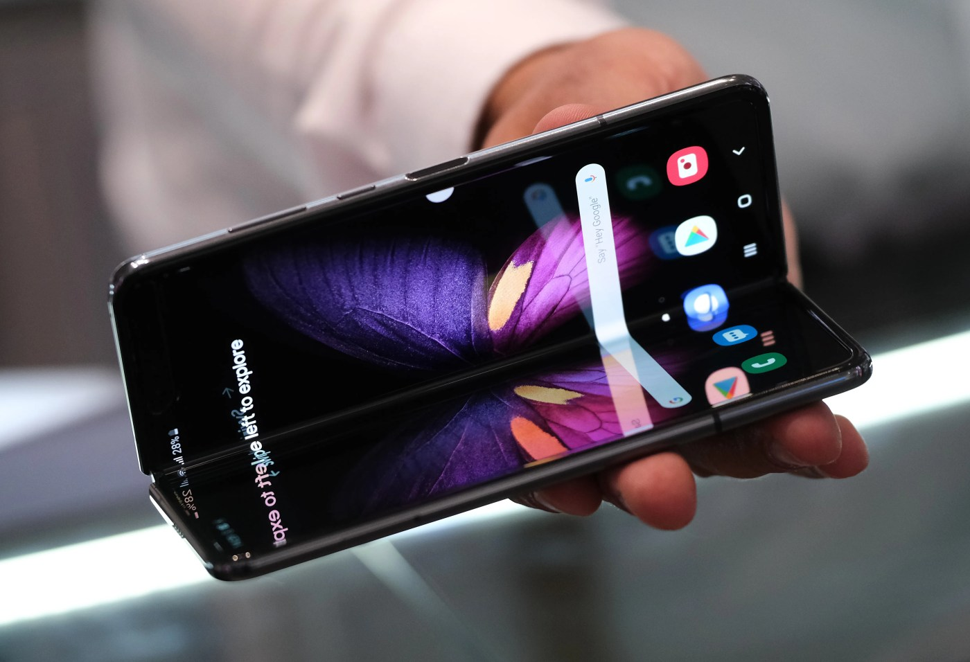 A host displays the new Samsung Galaxy Fold smartphone at the 2019 IFA home electronics and appliances trade fair on Sept. 5, 2019 in Berlin, Germany. The 2019 IFA fair will be open to the public from Sept. 6-11.