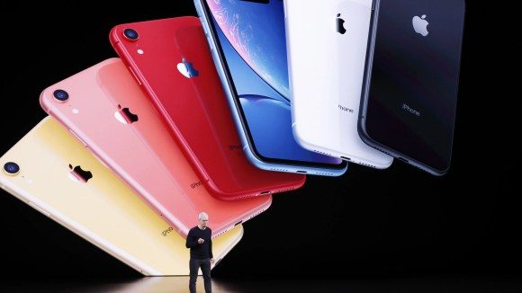 Apple CEO Tim Cook unveils the new iPhone 11 in Cupertino, California, on Tuesday.