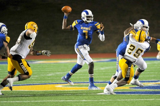 Quarterback Angelo State Kyle Washington passes against Texas A & M-Commerce during the 2014 match. Washington led the Rams to a 9-3 record that season, which included their first NCAA Division II playoff victory since 1997.