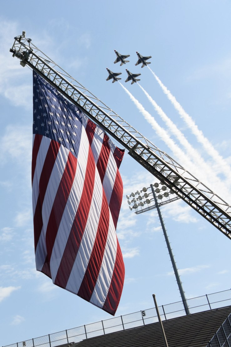 The United States Air Force Thunderbirds fly over Cramton Bowl in Montgomery during Officer Training School graduation in 2019.