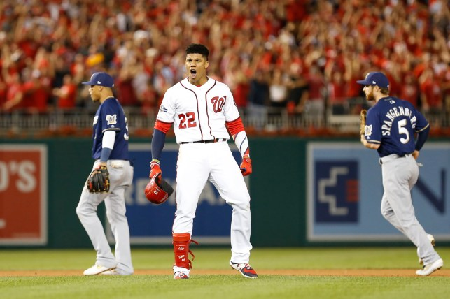 Nationals stun Brewers with late rally to win NL wild-card game