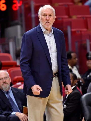 Gregg Popovich reacts during the second half of the Spurs' preseason game against the Heat on Tuesday.