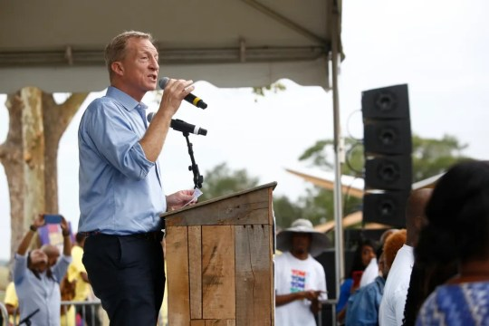 Democratic presidential candidate Tom Steyer speaks to attendees during the Blue Jamboree on Oct. 5, 2019, in North Charleston, South Carolina.