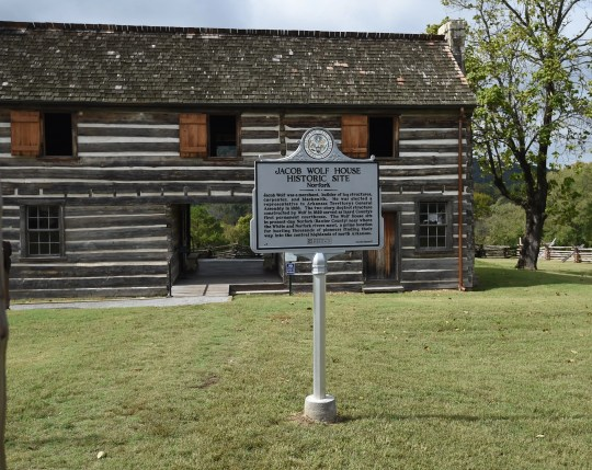 The Jacob Wolf House now displays a historical marker explaining the building's history to visitors. The former courthouse is the oldest public structure in Arkansas.