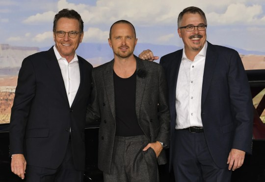 """Bryan Cranston, left, Aaron Paul and Vince Gilligan at the premiere of Netflix's """"El Camino"""" in Los Angeles earlier this month."""