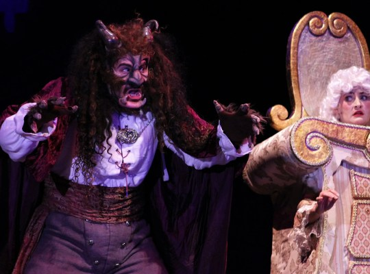 "The Beast (Richard Gomez) takes a frightful pose in this rehearsal scene from Abilene Christian University's ""Beauty and the Beast,"" which will be performed Friday and Saturday evenings and Sunday afternoon at the Abilene Convention Center. Oct. 14 2019"