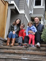 Deborah Neisuler, shown here with her husband, Justin, and their two children, recently moved to West Seattle, which locals call New California.