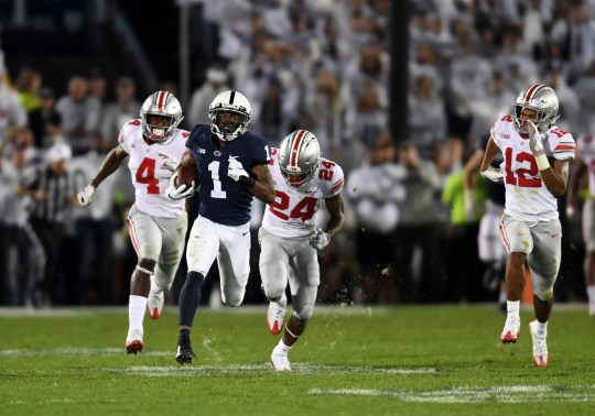 Penn State-wide receiver KJ Hamler frees himself from the Ohio State defense to score a touchdown in his 2018 game at Beaver Stadium.