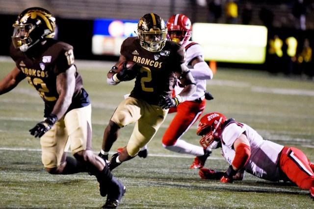 Western Michigan Broncos running back LeVante Bellamy (2) scores a touchdown on Tuesday, Nov. 5, 2019 at Waldo Stadium in Kalamazoo, Mich.