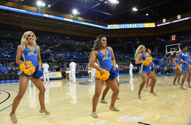 Nov. 6: UCLA Bruins cheerleaders perform during the game against Long Beach State at Pauley Pavilion.
