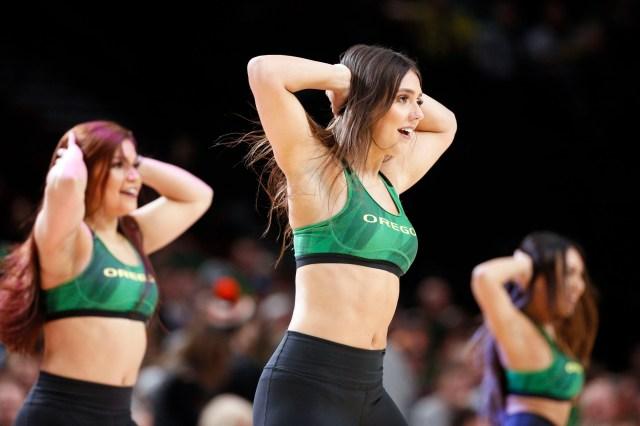 Nov. 12: Oregon Ducks cheerleaders perform during the second half at Moda Center.