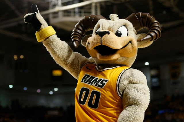 Nov. 13: The Virginia Commonwealth Rams mascot cheers on the court in the game against the LSU Tigers at Stuart C. Siegel Center.