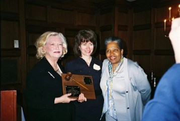 In this 2006 file photo, Attorney Ruby Wharton (right) and Judge Kay Spalding Robilio (left) present Barbara Zoccola with the Marion Griffin-Frances Loring award at the Association of Women Attorneys annual banquet at the University Club.