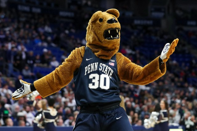 Nov. 19: The Penn State Nittany Lions mascot entertains the crowd during a timeout in the first half against the Bucknell Bison at Bryce Jordan Center.