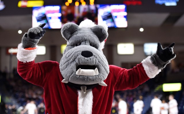 Dec. 21: The Gonzaga Bulldogs mascot performs during the game against the Eastern Washington Eagles.