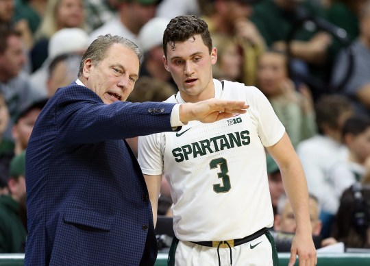 Michigan State coach Tom Izzo talks to guard Foster Loyer during the first half against Western Michigan at the Breslin Center, Dec. 29, 2019.
