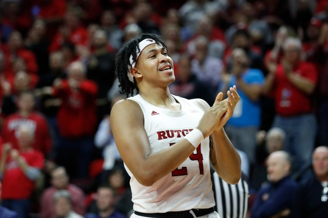 Rutgers guard Ron Harper Jr. reacts to the crowd during the second half of the team's NCAA college basketball game against Penn State