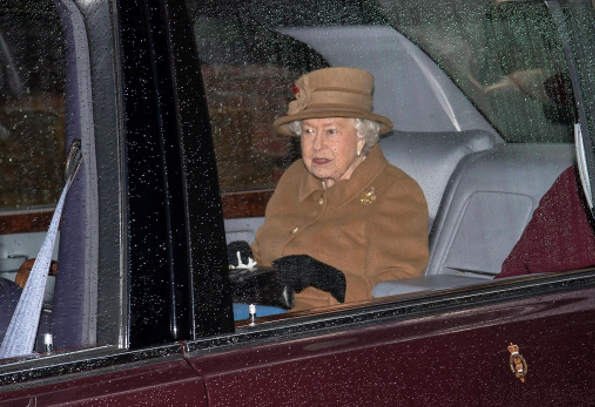 Queen Elizabeth leaves the church at Sandringham Estate, Great Britain, on January 12, 2020.