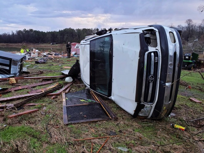 This photo from the Bossier Parish Sheriff's Office shows damage from severe weather in Bossier Parish, La., on Jan. 11, 2020.