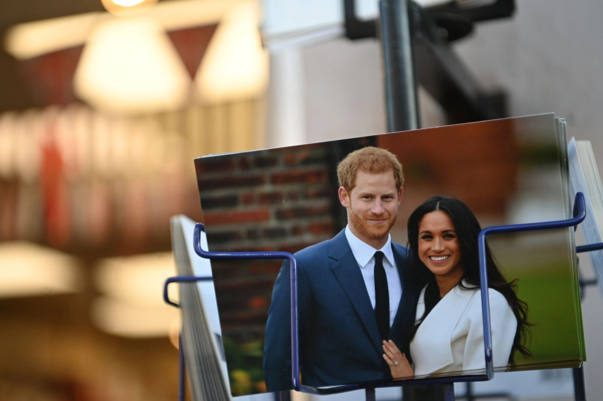 Real memorabilia with Prince Harry and Duchess Meghan of Sussex for sale at a store near Buckingham Palace on January 10, 2020.