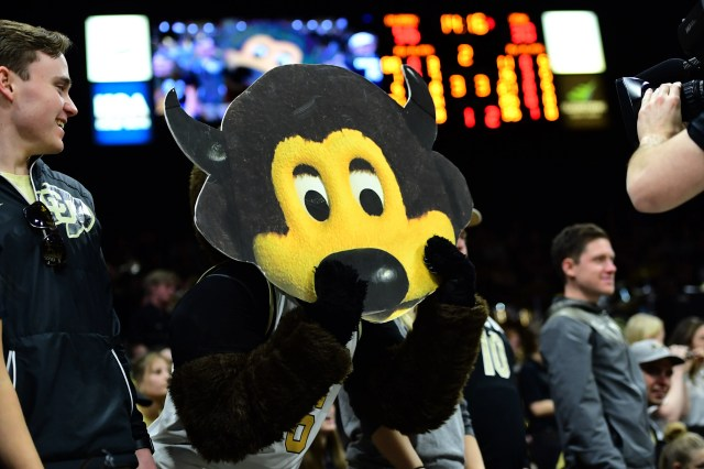 Jan. 12: Colorado Buffaloes mascot Chip performs for the crowd in the second half against the Utah Utes at the CU Events Center.
