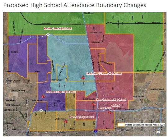 High school boundaries proposed in the Deer Valley Unified School District.