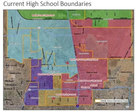 Current high school boundaries in the Deer Valley Unified School District