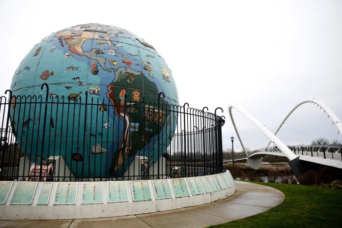 Eco-Earth, the mosaic globe at Riverfront Park, has tiles falling off and needs to be treated for asbestos. Photographed in Salem on Jan. 15, 2020.