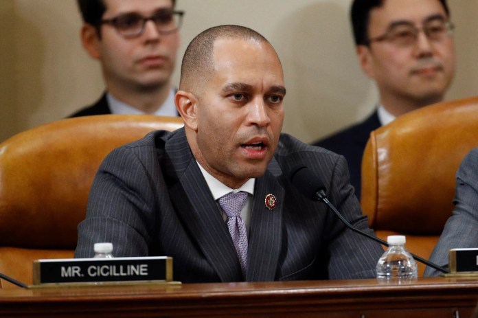 New York Rep. Hakeem Jeffries chairs the House Democratic Caucus and is the highest-ranking lawmaker in the group who will prosecute the case against Trump.