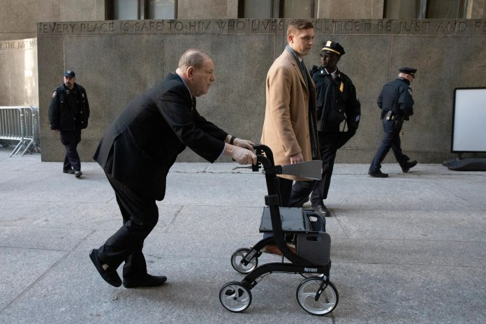 Harvey Weinstein used a wheeled walker when he arrive at the Manhattan courthouse for his sex-crimes trial , Jan. 24, 2020, in New York.