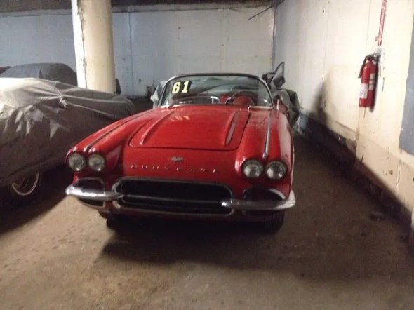 "This 1961 Corvette will be given away as one of the ""Lost Corvettes"" in a promotion by the Corvette Heroes to benefit the National Guard Educational Foundation."