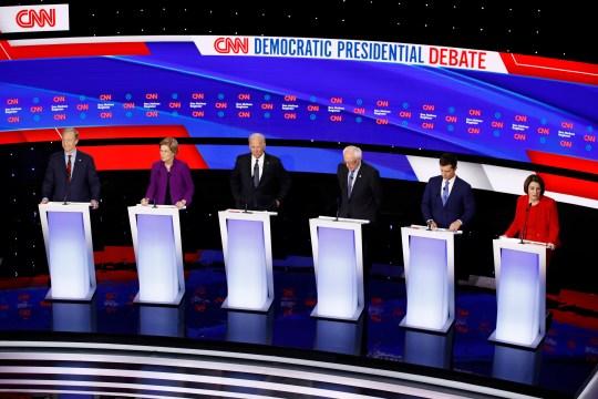 Democratic presidential debate in Des Moines, Iowa, on Jan. 14, 2020.