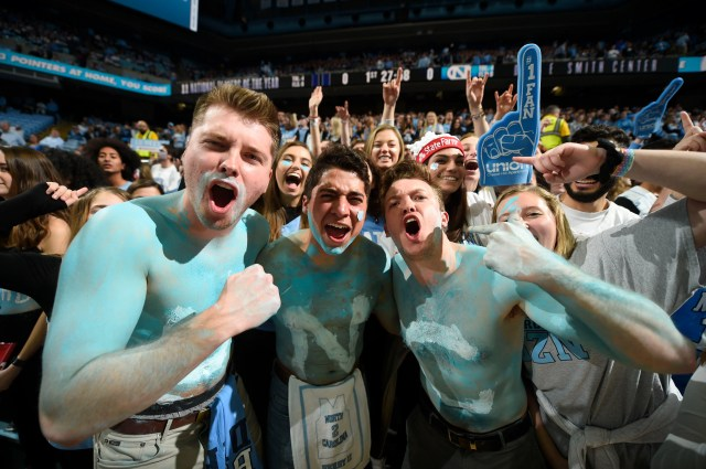 Feb. 8: North Carolina Tar Heels fans cheer in the first half at the Dean E. Smith Center.