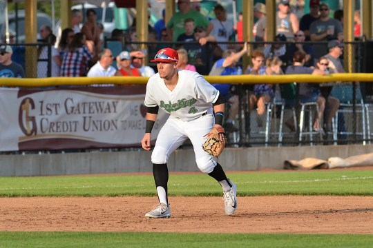 Clinton field player Zach Scott prepares to play during a 2019 Clinton LumberKings game.