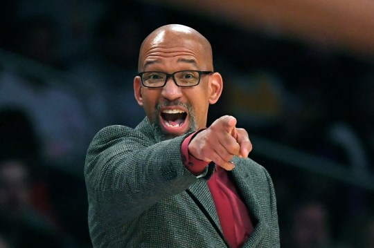 Phoenix Suns head coach Monty Williams instructs his team during the second half of an NBA basketball game against the Los Angeles Lakers, Monday, Feb. 10, 2020, in Los Angeles. The Lakers won 125-100. (AP Photo/Mark J. Terrill)