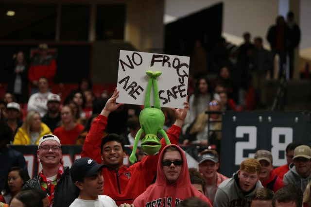 Feb. 10: A Texas Tech Red Raiders fan shows his support for the team before the game against the TCU Horned Frogs at United Supermarkets Arena.