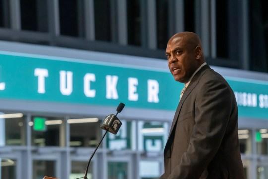 MSU coach Mel Tucker was interviewed on