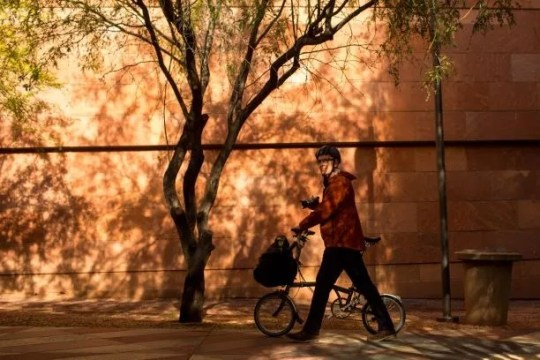Chuck Emmert, Video Production Coordinator for the city of Phoenix, shows where he takes photos for the city's Instagram account Friday, January 24, 2020 near Phoenix City Hall.