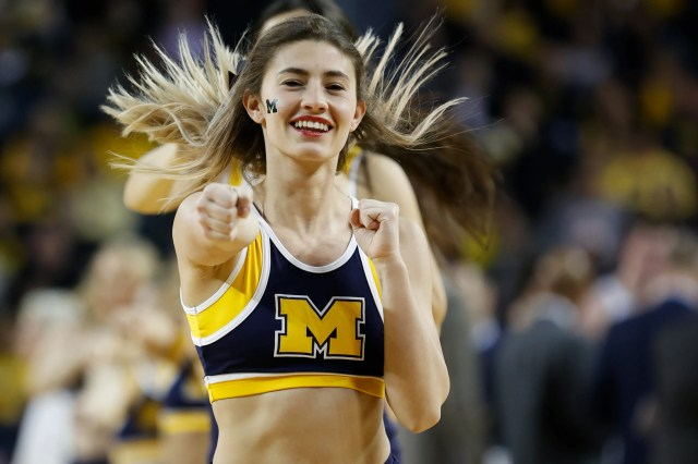 Feb. 16: Michigan Wolverines cheerleaders perform during the second half against the Indiana Hoosiers at Crisler Center.
