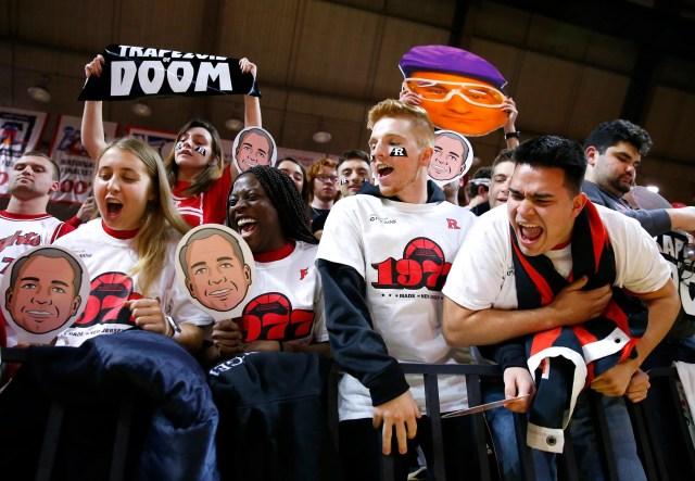 Feb 19, 2020; Piscataway, New Jersey, USA; Rutgers Scarlet Knights fans cheer before the start of game against the Rutgers Scarlet Knights and the Michigan Wolverines at Rutgers Athletic Center (RAC).