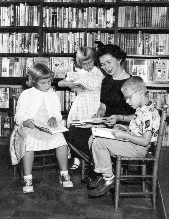 Beverly Cleary is seen with kids at Berkeley in 1957.